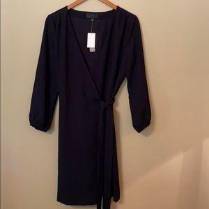 JCrew Black Crepe Wrap Dress. Fully Lined. Size 10